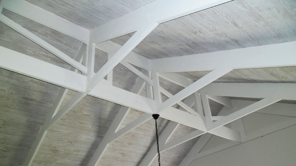 Limewash Ceiling and Exposed Trusses